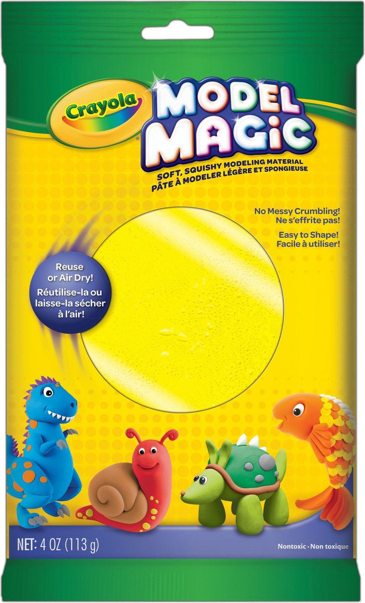 Crayola Застывающий пластилин цвет желтый 113 г72523WDВолшебный застывающий пластилин Crayola желтого цвета - это прекрасное современное изобретение, которое совсем не похоже на то, чем лепили вы сами. Данный пластилин имеет очень приятный запах, не прилипает к вашим рукам, а также очень легко лепится. Если вашему ребенку уже исполнилось четыре года, то его обязательно стоит порадовать этим подарком.Пластилин желтого цвета упакован в прямоугольный пакетик, оформленный в сочных цветах, которые не смогут остаться без внимания малыша.При создании любого шедевра без желтого цвета просто не обойтись. Кто же сможет существовать без желтого солнышка или ярких желтых цветочков? Чтобы малыш не надумал сотворить своими руками, волшебный застывающий пластилин ему будет просто необходим!