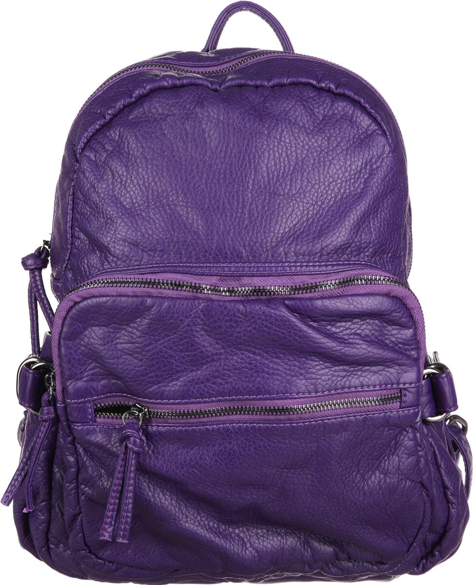 Рюкзак женский OrsOro, цвет: фиолетовый. D-252/7S76245Стильный женский рюкзак OrsOro не оставит вас равнодушной благодаря своему дизайну. Он изготовлен из мягкой экокожи зернистой текстуры. На лицевой стороне расположен объемный карман на молнии и вшитый карман на молнии для мелочей. Рюкзак имеет удобные боковые карман, объем которых регулируется с помощью ремешков с пряжками. Изделие закрывается на удобную молнию. Внутри расположено вместительное главное отделение, которое содержит два открытых накладных кармана для телефона и мелочей и один вшитый карман на молнии. Рюкзак оснащен удобными лямками, длину которых можно регулировать с помощью пряжек. Такой рюкзак подчеркнет ваш неповторимый образзаймет достойное место в вашем гардеробе.