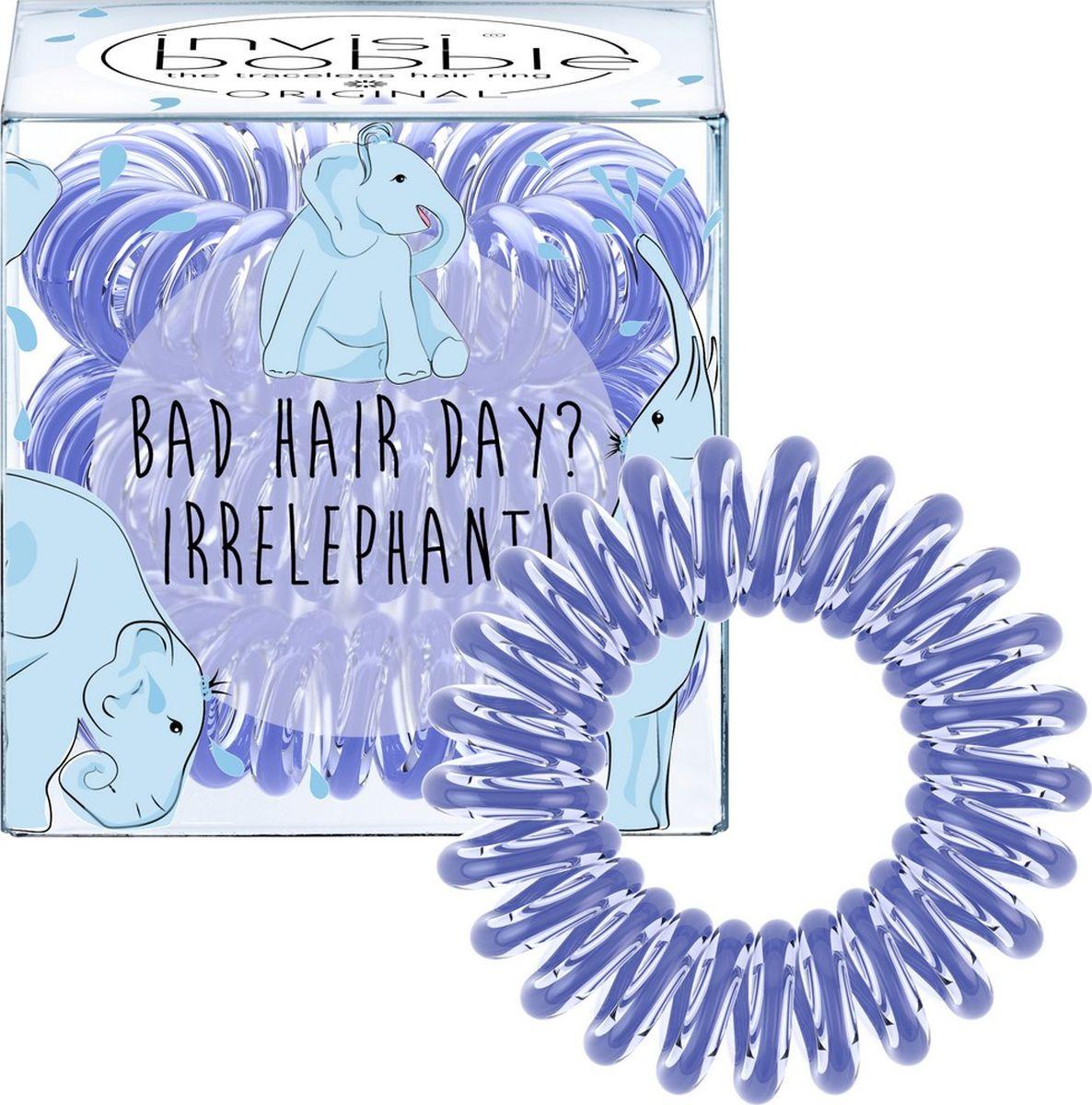 Invisibobble Резинка-браслет для волос ORIGINAL Bad Hair Day? Irrelephant!3075Резинки-браслеты invisibobble ORIGINAL Bad Hair Day? Irrelephant! василькового цвета из лимитированной тематической коллекции invisibobble Circus. Эксклюзивная упаковка с изображением Симпатяги-слона подарит яркое фестивальное настроение! Резинки invisibobble подходят для всех типов волос, надежно фиксируют прическу, не оставляют заломы и не вызывают головную боль благодаря неравномерному распределению давления на волосы. Кроме того, они не намокают и не вызывают аллергию при контакте с кожей, поскольку изготовлены из искусственной смолы.