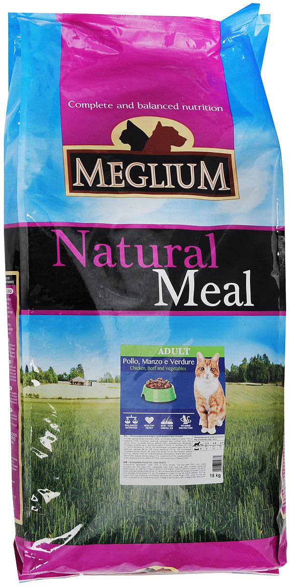 Корм сухой Meglium для кошек, с говядиной и курицей, 15 кг0120710Полноценный, сбалансированный и очень вкусный корм Meglium предназначен для взрослых кошек. Куриное мясо - это первый источник высокоусвояемых белков со сбалансированным набором аминокислот, рыба является источником полноценных белков и содержит большое количество Омега-3 жирных кислот - все это дополняет сбалансированная доза минералов, витаминов и таурина, благодаря чему корм удовлетворяет все пищевые потребности вашей кошки.Товар сертифицирован.