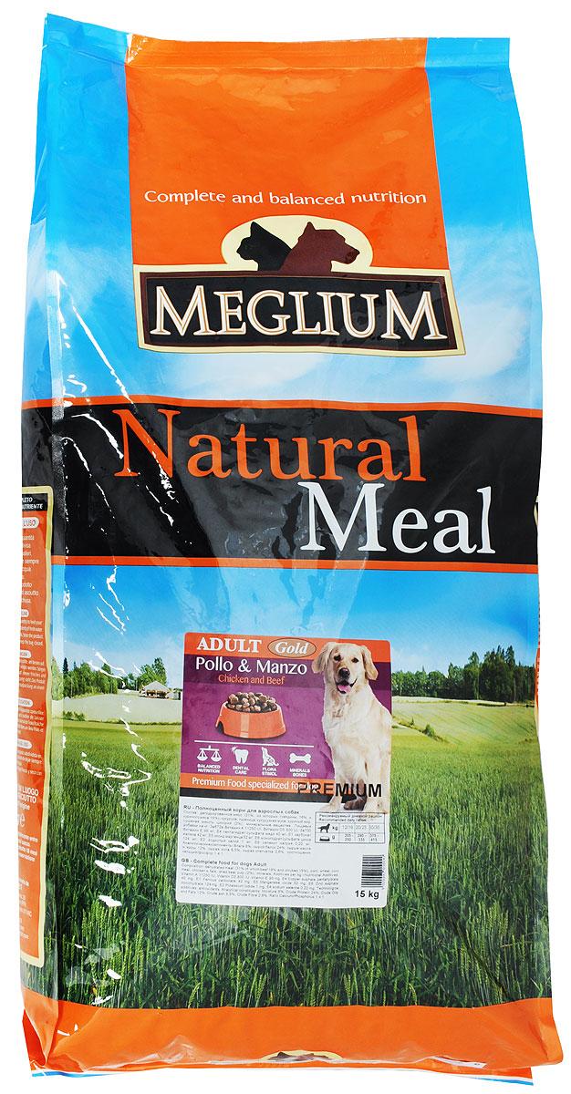 Корм сухой Meglium Gold для собак, 15 кг54774Полноценный и сбалансированный корм Meglium Gold предназначен для взрослых собак. Формула корма включает разные виды мяса, удовлетворяющие пищевые потребности собак всех размеров и обеспечивает полноценный рост. Куриное мясо является источником высокоусвояемых белков, правильный баланс белков и жиров, а также сбалансированная доза витаминов и минералов обеспечивают полноценный рост и здоровье собаки.Товар сертифицирован.