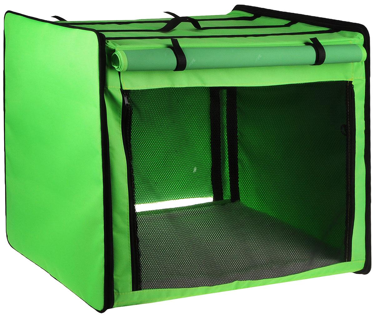 Клетка выставочная Elite Valley, цвет: черный, зеленый, 75 х 52 х 62 см. К-155001609Клетка Elite Valley предназначена для показа кошек и собак на выставках. Она выполнена из плотного текстиля, каркас - металлический. Клетка оснащена съемными пленкой и сеткой. Внутри имеется мягкая подстилка, выполненная из искусственного меха. Прозрачную пленку можно прикрыть шторкой. Сверху расположена ручка для переноски.В комплекте сумка-чехол для удобной транспортировки.