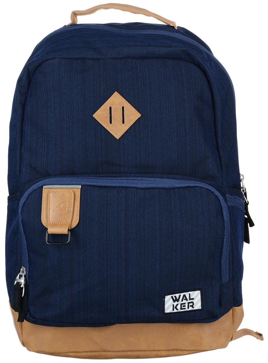 Walker Рюкзак Concept цвет темно-синий72523WDРюкзак Walker Concept - это современный многофункциональный молодежный рюкзак, который выполнен из прочного износостойкого материала высокого качества.Рюкзак имеет одно основное отделение, закрывающееся на молнию с двумя бегунками. Внутри отделения находятся два открытых сетчатых кармана, один накладной карман на липучке и мягкий карман на липучке для различных гаджетов. Рюкзак оснащен тремя боковыми карманами - двумя открытыми и одним на застежке-молнии. На лицевой стороне рюкзака расположен накладной карман на молнии, внутри которого имеется органайзер для канцелярских принадлежностей и прорезной карман на застежке-молнии. Рюкзак оснащен удобной текстильной ручкой для переноски в руке. Мягкие широкие лямки позволяют легко и быстро отрегулировать рюкзак в соответствии с ростом. Также рюкзак дополнен светоотражающими элементами.Этот рюкзак разработан специально для людей стильных и модных, любящих быть в центре внимания. Уплотненная спинка и лямки помогают лучше распределить нагрузку и сохранить форму рюкзака независимо от его наполнения. Светоотражающие элементы расположены на передней части рюкзака на боковых и лямках. С ним путешествие становится безопасным.