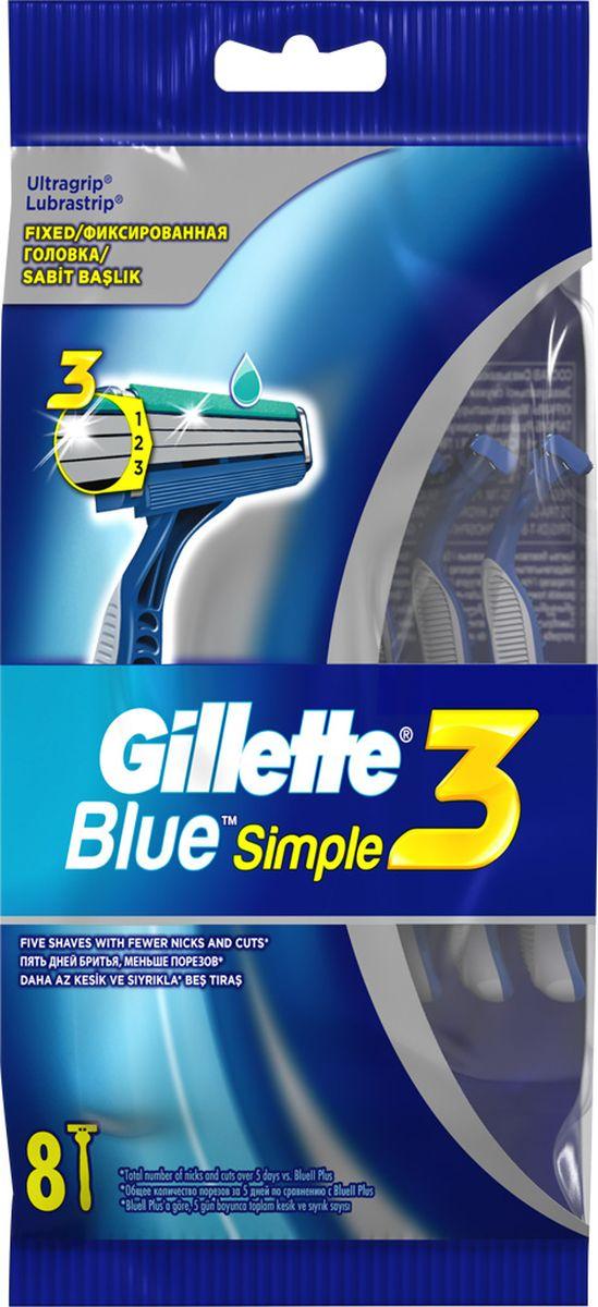Gillette Blue Simple3 Бритвы одноразовые 8 шт15339135_без подаркаBlue Simple 3 от Gillette — высокоэффективная одноразовая мужская бритва с 3-мя лезвиями. Она обеспечивает более качественное бритье с меньшим числом царапин и порезов (по сравнению с Gillette2). Бритва Blue Simple 3 от Gillette имеет 3 независимо подвешенных лезвия, обеспечивающих гладкое и комфортное бритье. Благодаря открытой архитектуре бритву легко промывать. Смазывающая полоска обеспечивает гладкое скольжение, а защитные микрогребни помогают натянуть кожу и подготовить волоски к срезанию. Бритва Blue Simple 3 от Gillette обеспечит вам гладкость кожи, заметную для окружающих, но не нанесет урона вашему бюджету. Обеспечивает более качественное бритье с меньшим числом царапин и порезов (по сравнению с Gillette2); Имеет 3 независимо подвешенных лезвия, повторяющих контуры вашего лица; Смазывающая полоска обеспечивает гладкое скольжение; Прорезиненная ручка и зафиксированная головка обеспечивают превосходный контроль; Гладкость кожи, заметная окружающим, и без урона для вашего бюджета