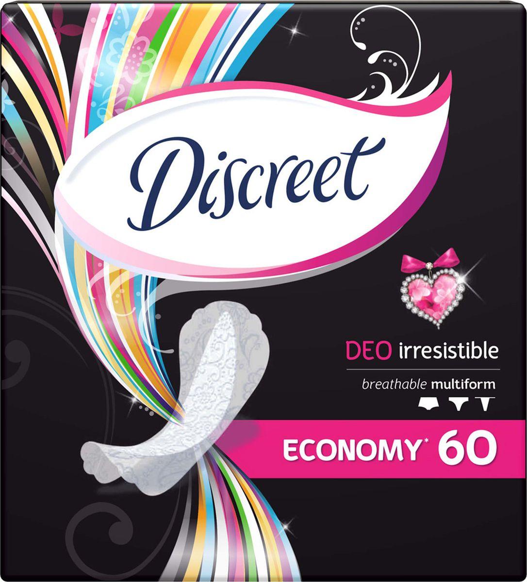 Discreet Женские гигиенические прокладки на каждый день Deo Irresistible Multiform Trio 60 шт28032022Ежедневные экстрадышащие гигиенические прокладки, которые сохраняют свежесть до 12 часов