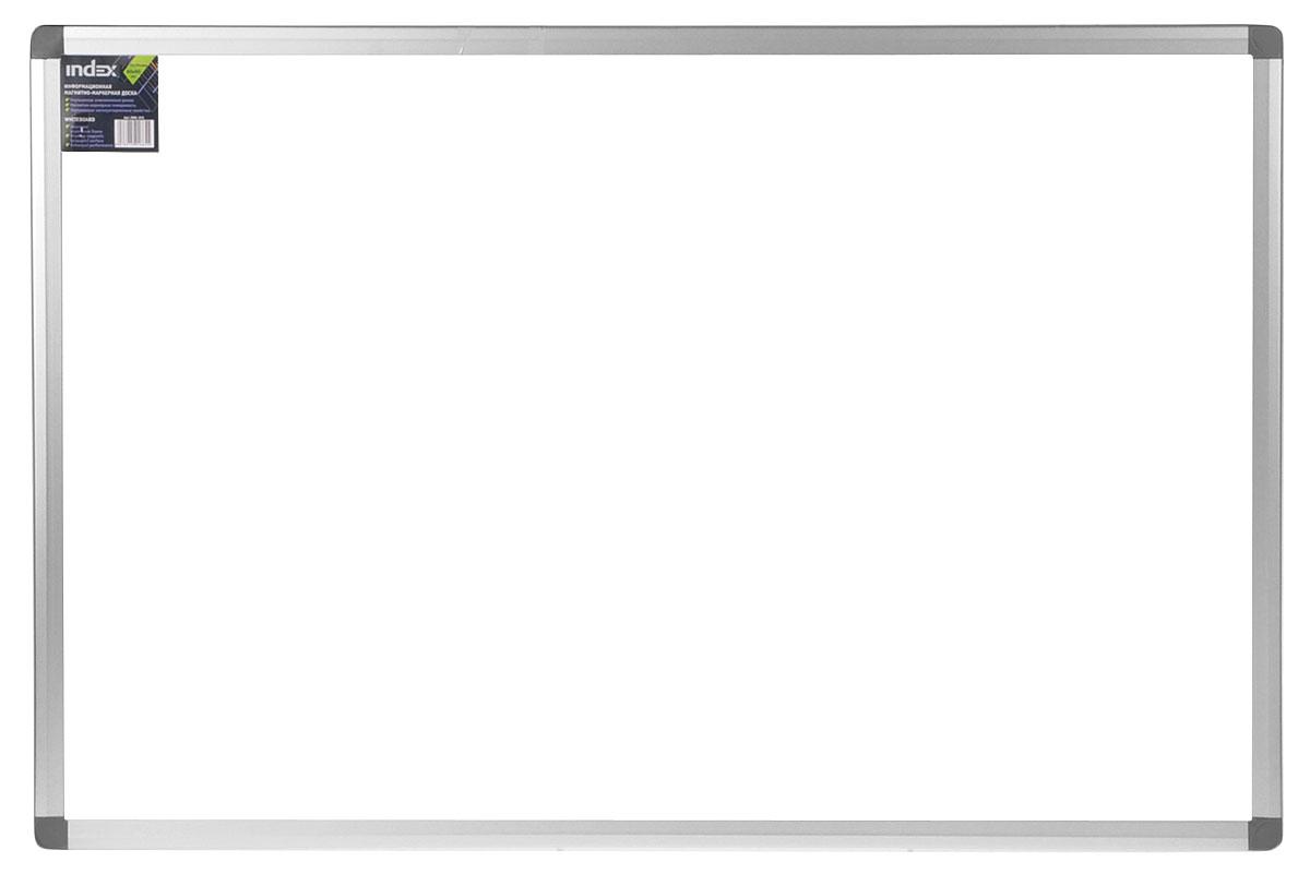 Доска магнитно-маркерная Index, 60 см х 90 смIWB-303Магнитно-маркерная доска Index с улучшенной алюминиевой рамой предназначена для проведения презентаций, тренингов и для информирования. Информация размещается при помощи магнитов или маркеров, след от которых легко стирается даже сухой тряпкой.Характеристики: Размер доски: 60 см x 90 см. Материал: алюминий, металл. Размер упаковки: 62 см x 100 см x 3 см. К доске прилагается полочка для маркеров. Изготовитель: Китай.УВАЖАЕМЫЕ КЛИЕНТЫ! Обращаем ваше внимание на возможные изменения в дизайне, связанные с ассортиментом продукции: Углы доски могут быть белого цвета. Поставка осуществляется в зависимости от наличия на складе.