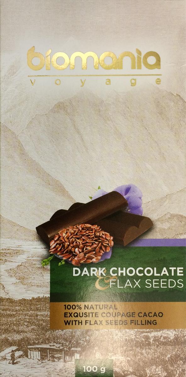 Biomania Voyage темный шоколад с урбечом из семян льна, 100 г00-00000019Ингредиенты для ШоколадаПроизводитель использует благородные ароматические какао-бобы Тринитарио, Криолло (сегмента Premium - всего 5% от всех бобов в мире) и осуществляет селекцию поставщиков по каждому из ингредиентов.Неповторимый вкусДля получения идеального эксклюзивного вкуса и гармонии ароматов, Шоколатье исполняют оригинальное купажирование из различных видов шоколада. Know-howРучная работа. Максимально содержание орехов или семян (в 2 раза больше по сравнению с конкурентами!) в виде начинки из паст Урбеч от компании Биопродукты100% натуральность и качествоИсключительная натуральность всех ингредиентов и высокие стандарты качества производственного процесса.