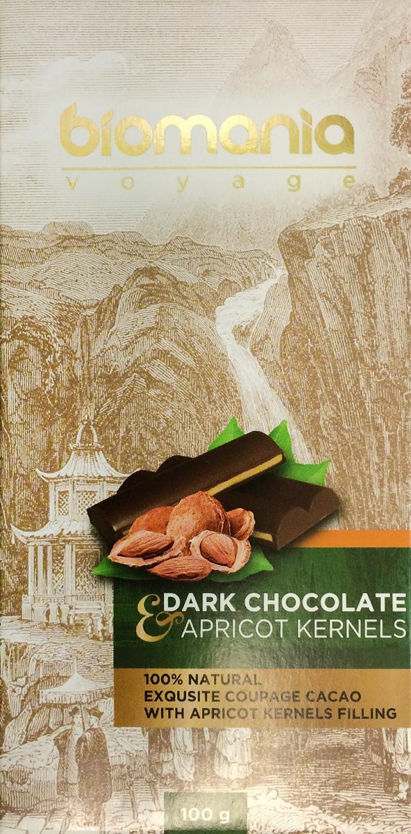Biomania Voyage темный шоколад с урбечом из абрикосовой косточки, 100 г00-00000017Ингредиенты для ШоколадаПроизводитель использует благородные ароматические какао-бобы Тринитарио, Криолло (сегмента Premium - всего 5% от всех бобов в мире) и осуществляет селекцию поставщиков по каждому из ингредиентов.Неповторимый вкусДля получения идеального эксклюзивного вкуса и гармонии ароматов, Шоколатье исполняют оригинальное купажирование из различных видов шоколада. Know-howРучная работа. Максимально содержание орехов или семян (в 2 раза больше по сравнению с конкурентами!) в виде начинки из паст Урбеч от компании Биопродукты100% натуральность и качествоИсключительная натуральность всех ингредиентов и высокие стандарты качества производственного процесса.