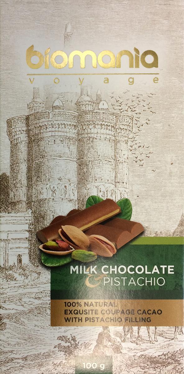 Biomania Voyage молочный шоколад с урбечом из фисташки, 100 г0120710Ингредиенты для ШоколадаПроизводитель использует благородные ароматические какао-бобы Тринитарио, Криолло (сегмента Premium - всего 5% от всех бобов в мире) и осуществляет селекцию поставщиков по каждому из ингредиентов.Неповторимый вкусДля получения идеального эксклюзивного вкуса и гармонии ароматов, Шоколатье исполняют оригинальное купажирование из различных видов шоколада. Know-howРучная работа. Максимально содержание орехов или семян (в 2 раза больше по сравнению с конкурентами!) в виде начинки из паст Урбеч от компании Биопродукты100% натуральность и качествоИсключительная натуральность всех ингредиентов и высокие стандарты качества производственного процесса.