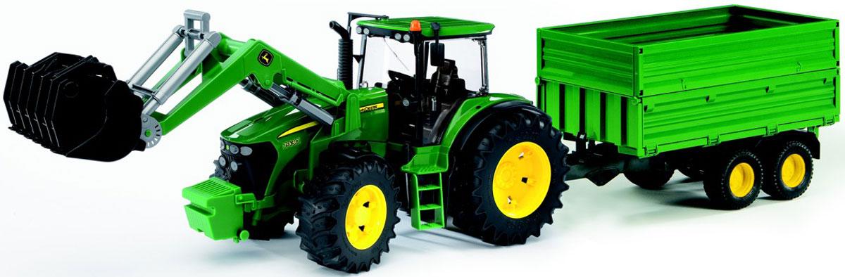 Bruder Трактор John Deere 7930 с погрузчиком и прицепом игрушка bruder fendt favorit 926 vario трактор с погрузчиком 02 062