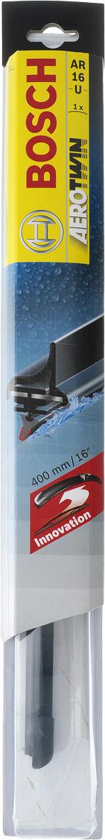 Щетка стеклоочистителя Bosch AR16U, бескаркасная, со спойлером, длина 40 смS03301004Бескаркасная универсальная щетка Bosch AR16U, выполненная по современной технологии из высококачественных материалов, предназначена для установки на стекло автомобиля. Отличается высоким качеством исполнения и оптимально подходит для замены оригинальных щеток, установленных на конвейере. Обеспечивает качественную очистку стекла в любую погоду. Изделие оснащено многофункциональным адаптером Multi-Clip, который превосходно подходит для наиболее распространенных типов креплений. Простой и быстрый монтаж. AEROTWIN - серия бескаркасных щеток компании Bosch. Щетки имеют встроенный аэродинамический спойлер, что делает их эффективными на высоких скоростях, и изготавливаются из многокомпонентной резины с применением натурального каучука.Тип крепления: 1.