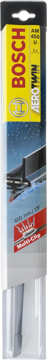 Щетка стеклоочистителя Bosch AM450U, бескаркасная, со спойлером, длина 45 смS03301004Бескаркасная универсальная щетка Bosch AM450U, выполненная по современной технологии из высококачественных материалов, предназначена для установки на стекло автомобиля. Отличается высоким качеством исполнения и оптимально подходит для замены оригинальных щеток, установленных на конвейере. Обеспечивает качественную очистку стекла в любую погоду. Изделие оснащено многофункциональным адаптером Multi-Clip, который превосходно подходит для наиболее распространенных типов креплений. Простой и быстрый монтаж. AEROTWIN - серия бескаркасных щеток компании Bosch. Щетки имеют встроенный аэродинамический спойлер, что делает их эффективными на высоких скоростях, и изготавливаются из многокомпонентной резины с применением натурального каучука.Тип крепления: 2, 3, 4, 8.