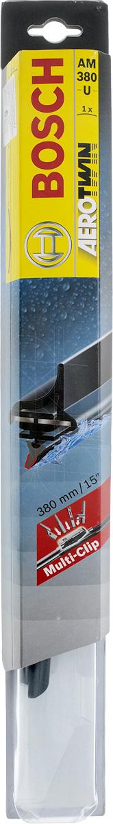 Щетка стеклоочистителя Bosch AM380U, бескаркасная, со спойлером, длина 38 см3397008576Бескаркасная универсальная щетка Bosch AM380U, выполненная по современной технологии из высококачественных материалов, предназначена для установки на стекло автомобиля. Отличается высоким качеством исполнения и оптимально подходит для замены оригинальных щеток, установленных на конвейере. Обеспечивает качественную очистку стекла в любую погоду. Изделие оснащено многофункциональным адаптером Multi-Clip, который превосходно подходит для наиболее распространенных типов креплений. Простой и быстрый монтаж. AEROTWIN - серия бескаркасных щеток компании Bosch. Щетки имеют встроенный аэродинамический спойлер, что делает их эффективными на высоких скоростях, и изготавливаются из многокомпонентной резины с применением натурального каучука.Тип крепления: 2, 4, 8.