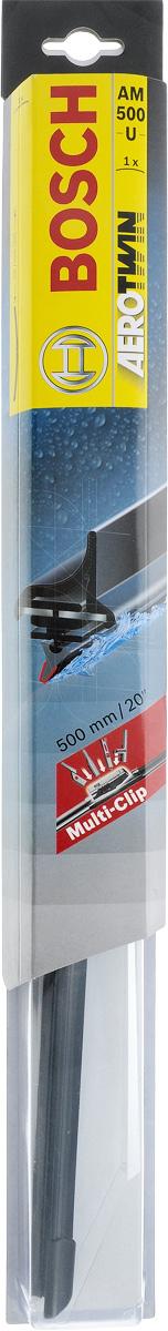 Щетка стеклоочистителя Bosch AM500U, бескаркасная, со спойлером, длина 50 см2615S545JBБескаркасная универсальная щетка Bosch AM500U, выполненная по современной технологии из высококачественных материалов, предназначена для установки на стекло автомобиля. Отличается высоким качеством исполнения и оптимально подходит для замены оригинальных щеток, установленных на конвейере. Обеспечивает качественную очистку стекла в любую погоду. Изделие оснащено многофункциональным адаптером Multi-Clip, который превосходно подходит для наиболее распространенных типов креплений. Простой и быстрый монтаж. AEROTWIN - серия бескаркасных щеток компании Bosch. Щетки имеют встроенный аэродинамический спойлер, что делает их эффективными на высоких скоростях, и изготавливаются из многокомпонентной резины с применением натурального каучука.Тип крепления: 2, 3, 4, 8.Крепления: боковой зажим/Pinch Tab, боковой штырь/Side Pin/Pin in Arm/Side Lock/P&H, верхний замок/Top Lock, кнопка/Push Button.