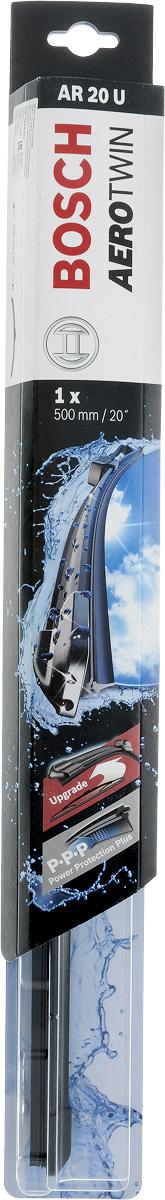 Щетка стеклоочистителя Bosch AR20U, бескаркасная, со спойлером, длина 50 смS03301004Бескаркасная универсальная щетка Bosch AR20U, выполненная по современной технологии из высококачественных материалов, предназначена для установки на стекло автомобиля. Отличается высоким качеством исполнения и оптимально подходит для замены оригинальных щеток, установленных на конвейере. Обеспечивает качественную очистку стекла в любую погоду. Изделие оснащено многофункциональным адаптером Multi-Clip, который превосходно подходит для наиболее распространенных типов креплений. Простой и быстрый монтаж. AEROTWIN - серия бескаркасных щеток компании Bosch. Щетки имеют встроенный аэродинамический спойлер, что делает их эффективными на высоких скоростях, и изготавливаются из многокомпонентной резины с применением натурального каучука.Тип крепления: 1.