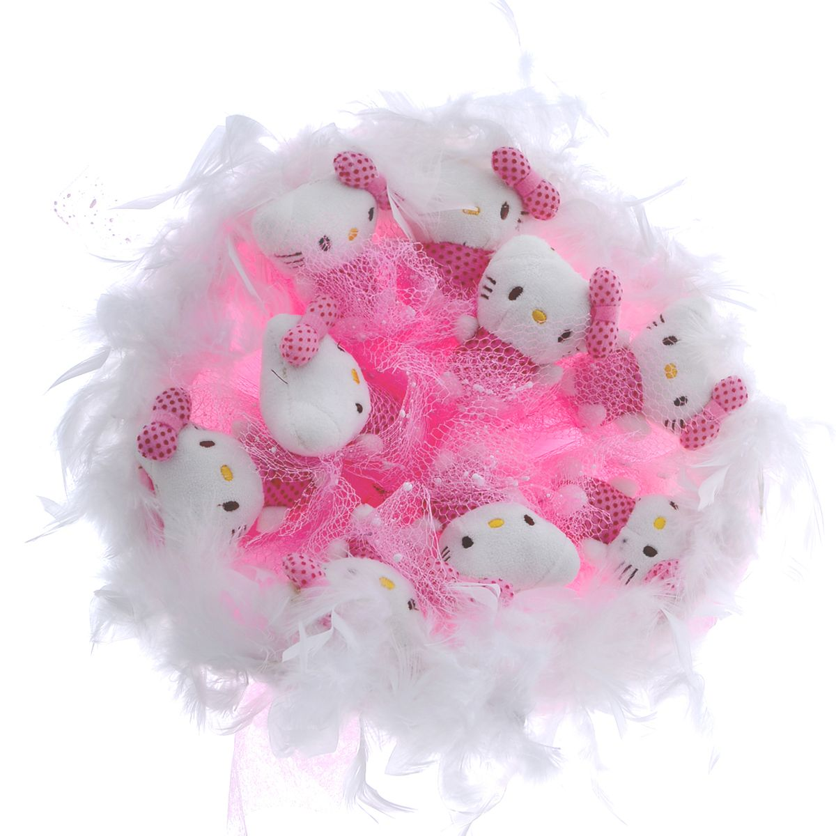 Букет из игрушек Toy Bouquet Котята, цвет: розовый, 9 игрушекNLED-454-9W-BKБукет из 9 мягких милых Кити, упакован в мягкую струящуюся органзу розового цвета с добавлением флористической сетки, декорирован великолепным пышным боа по краю букета и перевязан широкой атласной лентой с добавлением серебристой парчовой тесьмы Мягкие игрушки, оформленные в букет – приятный подарок для любимой, для мамы, подруги или для ребенка. Оригинальные букеты торговой марки TOY BOUQUET из мягких игрушек прекрасно подойдут для многих праздников: День Святого Валентина, 8 марта, день рождения, выпускной, а также на другие памятные даты или годовщины.
