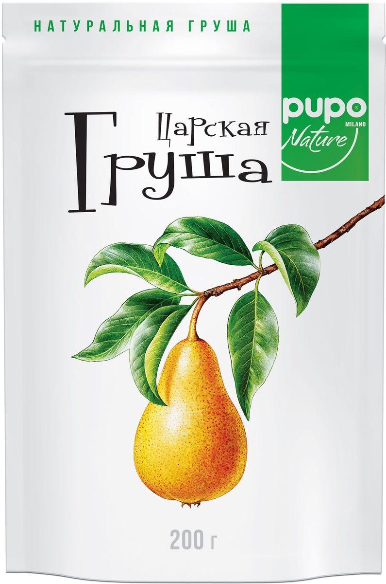 Pupo Груша царская фрукты сушеные, 200 г0120710Среднеазиатские груши, имеющие плотную мякоть, без ярко выраженного вяжущего вкуса, вызревшие и вкусные, идеальны для сушки. Сушеные груши PUPO обладают исключительно природной сладостью и в полной мере сохранили полезные вещества. Благодаря витаминам и микроэлементам, груши PUPO нормализуют сердечно-сосудистую и нервную системы. Они отлично подходят в качестве альтернативы десертам.