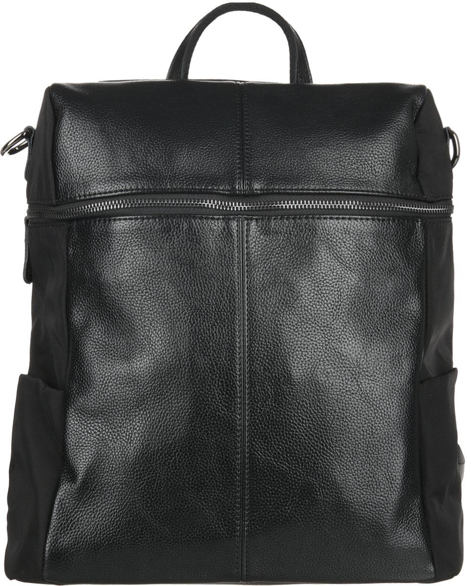 Сумка-рюкзак женская Flioraj, цвет: черный. 00053026S76245Сумка-рюкзак женская Flioraj закрывается на молнию. Внутри - одно отделение, карман на молнии и два открытых кармана.