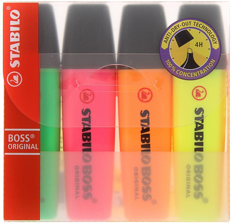 Stabilo Набор маркеров Boss 4 цвета1255622Набор текстовыделителей Stabilo Boss предназначен для маркировки текста на различных типах бумаги, включая факсовую.Чернила на водной основе не имеют запаха, мгновенно высыхают, отличаются высокой яркостью и светостойкостью. Клиновидный стержень, способный долгое время сохранять работоспособность без колпачка, позволяет проводить идеально ровные линии толщиной от 2-х до 5-ти мм.Большой запас чернил и возможность их многократной перезаправки (до 5-ти раз) обеспечивают длительный срок службы маркера.В наборе 4 цвета: зеленый, розовый, оранжевый, желтый.