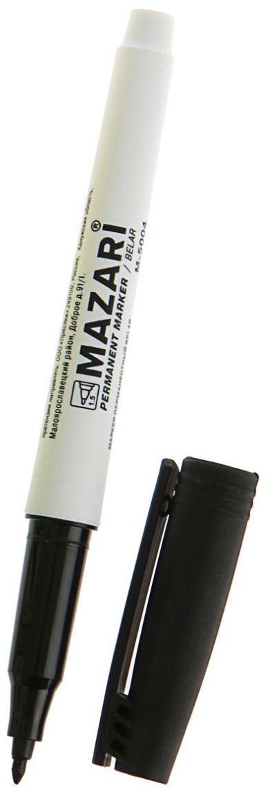 Mazari Маркер перманентный Belar цвет черный72523WDПерманентный маркер Mazari Belar подходит для письма на любых поверхностях. Маркер имеет пулевидную форму наконечника.Плотный колпачок с клипом надежно предотвращает высыхание.Цвет колпачка соответствует цвету чернил.Толщина линии - 1 мм.