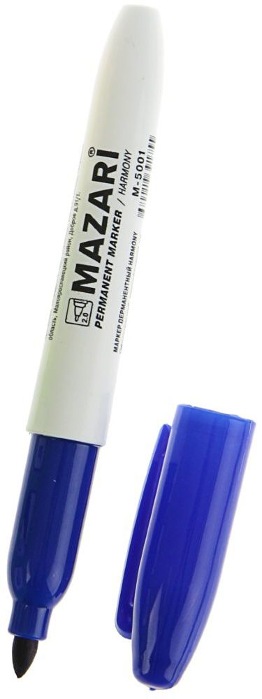 Mazari Маркер перманентный Harmony цвет синий72523WDПерманентный маркер Mazari Harmony подходит для письма на любых поверхностях. Маркер имеет пулевидную форму наконечника.Плотный колпачок с клипом надежно предотвращает высыхание.Цвет колпачка соответствует цвету чернил.Толщина линии - 1 мм.