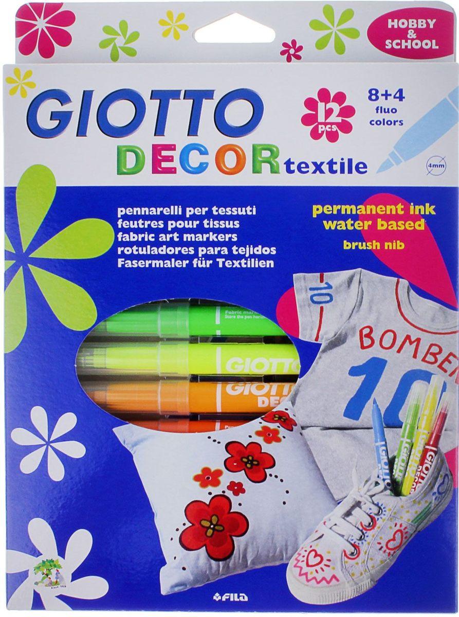 Giotto Набор маркеров для ткани Decor Textile 12 цветов72523WDAST 12 GIOTTO DECOR TEXTILE 12 цв. Специальные фломастеры для декорирования по ткани. Перманентные, для закрепления перманентного эффекта обязательно пройтись поверх рисунка горячим утюгом без пара. Фетровый наконечник. Чернила на водной основе, без запаха.