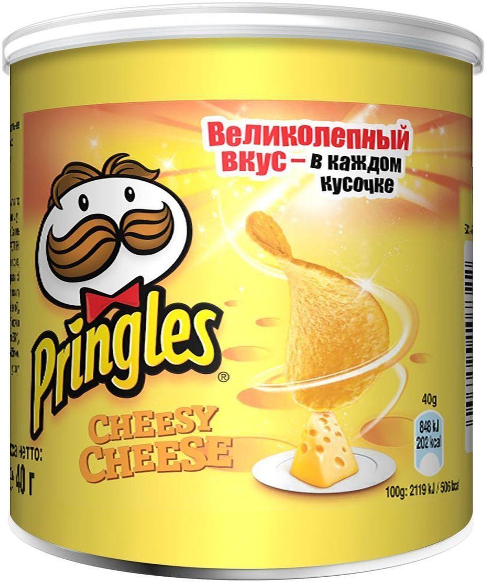 Pringles картофельные чипсы со вкусом сыра, 40 г0120710Чипсы Pringles со вкусом сыра – хрустящий снек из картофеля. Продукт изготавливают путем обжаривания тонких ломтиков картофеля в кипящем масле.