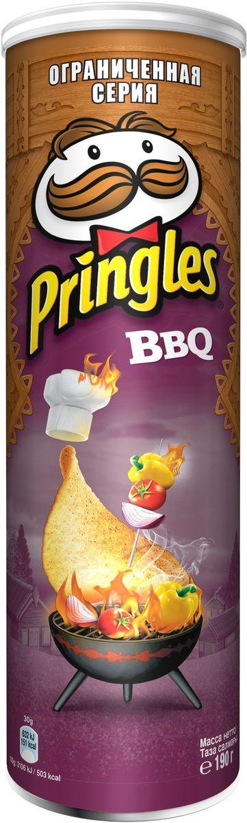 Pringles картофельные чипсы со вкусом барбекю, 190 г7001273000Чипсы Pringles со вкусом барбекю - хрустящий снек из картофеля. Продукт изготавливают путем обжаривания тонких ломтиков картофеля в кипящем масле.