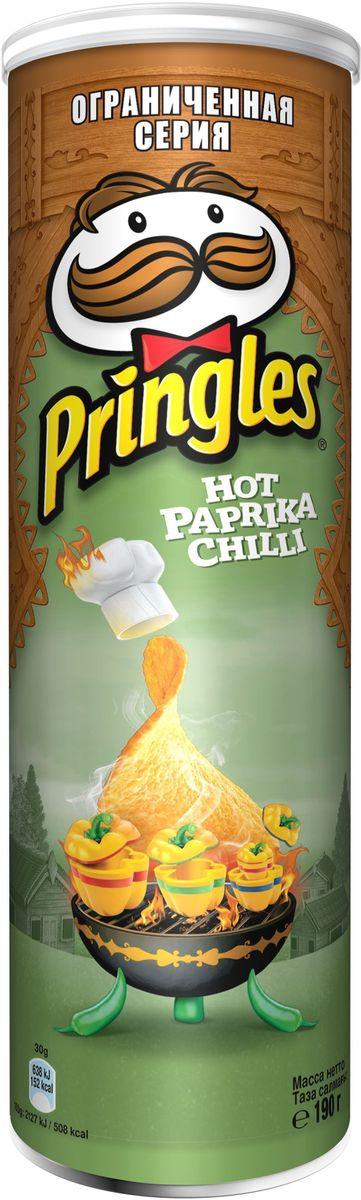 Pringles картофельные чипсы со вкусом перца чили, 190 г24Чипсы Pringles со вкусом перца чили – хрустящий снек из картофеля. Продукт изготавливают путем обжаривания тонких ломтиков картофеля в кипящем масле.