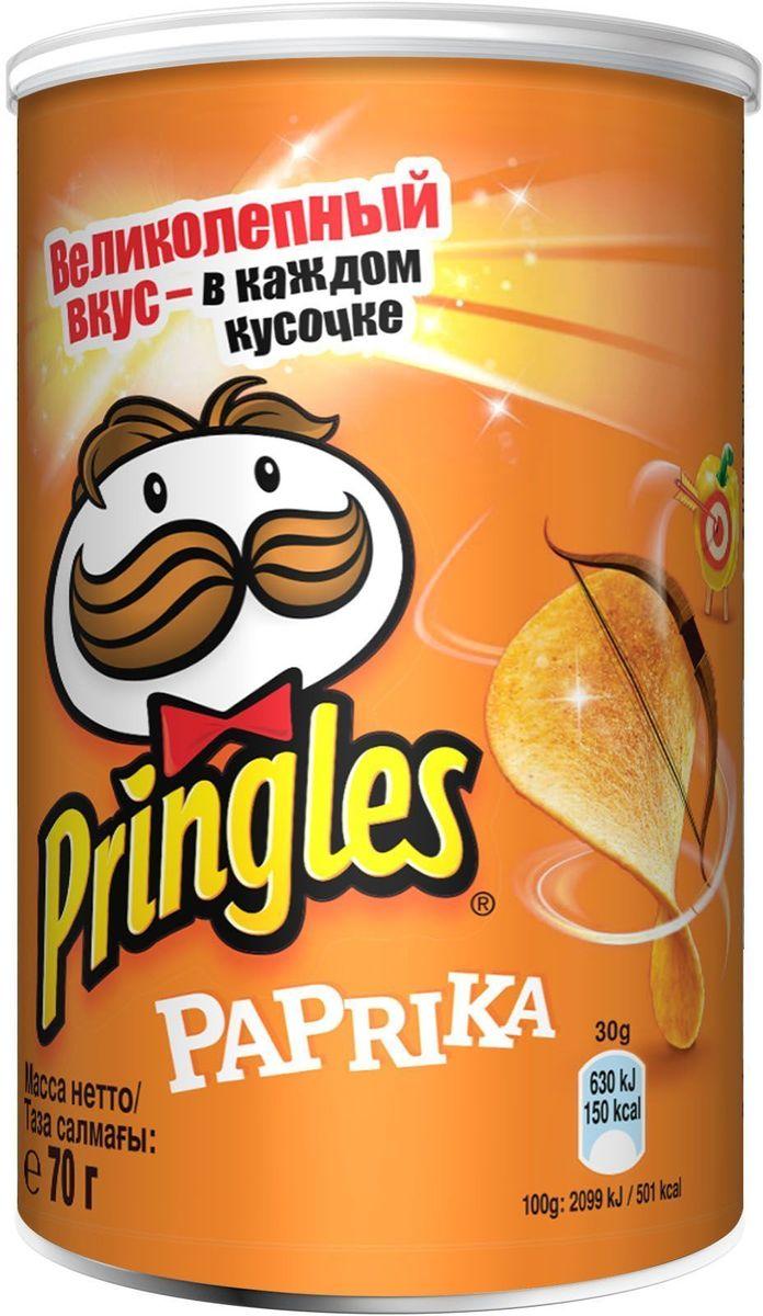 Pringles картофельные чипсы со вкусом паприки, 70 г0120710Чипсы Pringles со вкусом паприки – хрустящий снек из картофеля. Продукт изготавливают путем обжаривания тонких ломтиков картофеля в кипящем масле.