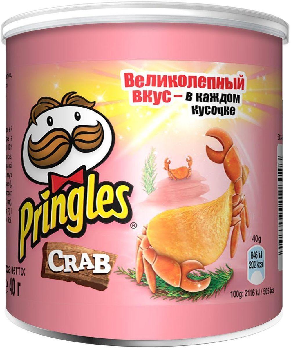 Pringles картофельные чипсы со вкусом краба, 40 г7001323000Чипсы Pringles со вкусом краба – хрустящий снек из картофеля. Продукт изготавливают путем обжаривания тонких ломтиков картофеля в кипящем масле.