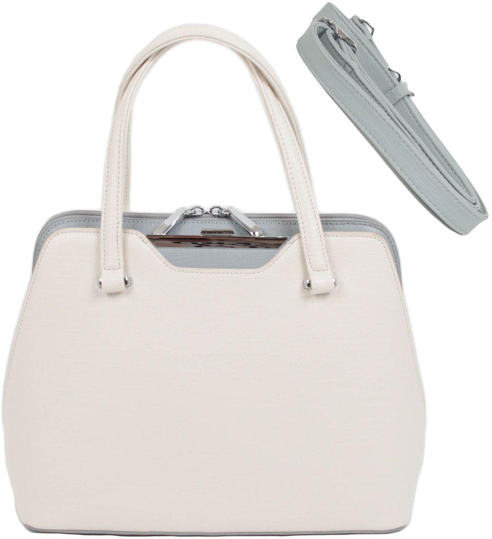 Сумка женская Flioraj, цвет: белый. 00053350-17BM8434-58AEЭлегентная классическая женская сумка выполненная в пастельных тонах из высококачественной экокожи. Придаст вашему образу неповторимый стильный вид и поднимет Ваше настроение. Сумка закрывается на молнию, внутри два отделения, два кармана на молнии и два для мобильного телефона, снаружи карман на молнии. Высота ручек 15 см. В комплекте наплечный ремень.