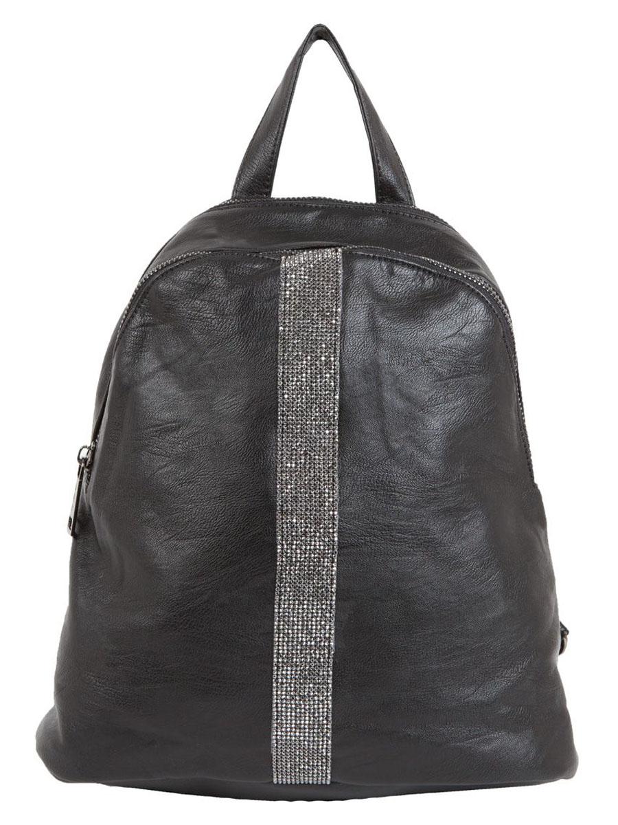 Рюкзак женский Flioraj, цвет: черный. 9191RivaCase 8460 blackЗакрывается на молнию. Внутри одно отделение, два кармана для мобильного телефона, снаружи карман на молнии. Высота ручки 8 см.