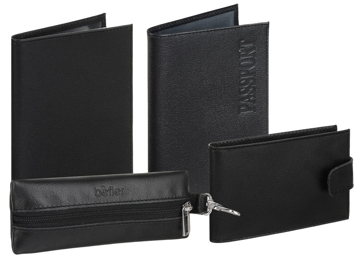 Подарочный набор Befler Грейд: бумажник водителя, обложка для паспорта, ключница, визитница, цвет: черный. BV.1/KL.8/O.1/V.31.-91-022_516Подарочный набор Грейд включает в себя обложку для паспорта, бумажник водителя, ключницу и визитницу. Обложка для паспорта Befler, выполнена из натуральной кожи черного цвета, декорирована отстрочкой. На внутреннем развороте 2 кармана из прозрачного пластика с выемкой. Компактная ключница Befler, закрывающаяся на застежку-молнию, выполнена из натуральной кожи высокого качества с естественной лицевой поверхностью. Внутри ключницы расположено металлическое кольцо для ключей и дополнительный наружный карабин для крепления.Портмоне Befler, выполнено из натуральной кожи черного цвета, декорировано контрастной отстрочкой. Внутри отделение для купюр, карман для кредитной карты, 2 скрытых кармана, карман для мелочи, закрывающийся на кнопку.Бумажник водителя Befler выполнен из натуральной кожи черного цвета и декорирован контрастной отстрочкой. На внутреннем развороте карман из кожи с прорезным кармашком для кредитной карты. Внутренний блок из прозрачного пластика для документов водителя (6 карманов).Такой набор станет отличным подарком для человека, ценящего качественные и красивые вещи. Характеристики: Цвет: черный. Материал: натуральная кожа, текстиль, металл. Размер бумажника: 9 см x 12,5 см. Размер обложки: 9,5 см х 13,5 см. Размер ключницы (без карабина): 13 см x 5 см x 1 см. Размер портмоне: 11 см х 8,5 см. Размер упаковки: 10 см x 23 см x 7 см. Артикул: BV.1/KL.8/O.1/V.31.-9.чер.