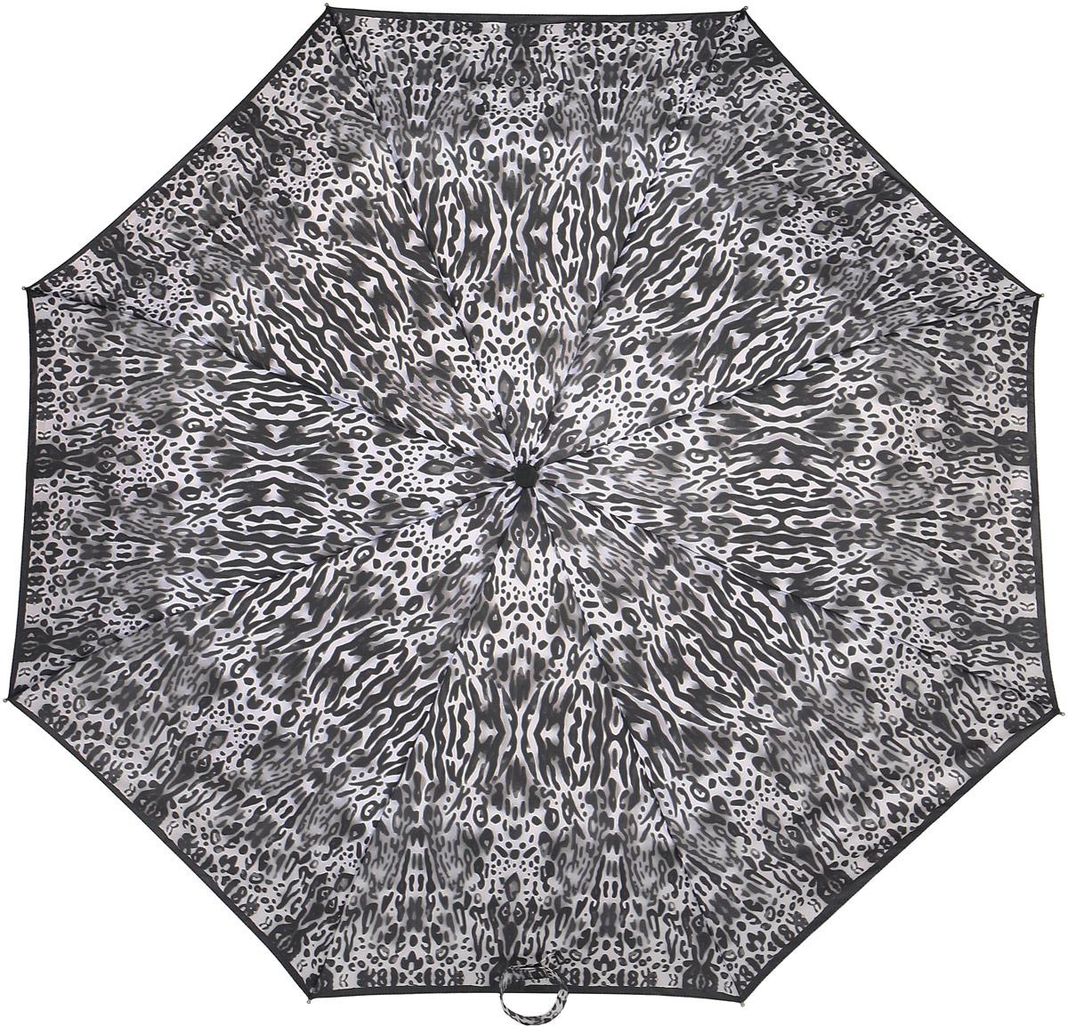 Зонт женский Fulton, механический, 3 сложения, цвет: черный, светло-серый. L354-3377Колье (короткие одноярусные бусы)Стильный механический зонт Fulton имеет 3 сложения, даже в ненастную погоду позволит вам оставаться стильной. Легкий, но в тоже время прочный алюминиевый каркас состоит из восьми спиц с элементами из фибергласса. Купол зонта выполнен из прочного полиэстера с водоотталкивающей пропиткой. Рукоятка закругленной формы, разработанная с учетом требований эргономики, выполнена из каучука. Зонт имеет механический способ сложения: и купол, и стержень открываются и закрываются вручную до характерного щелчка.