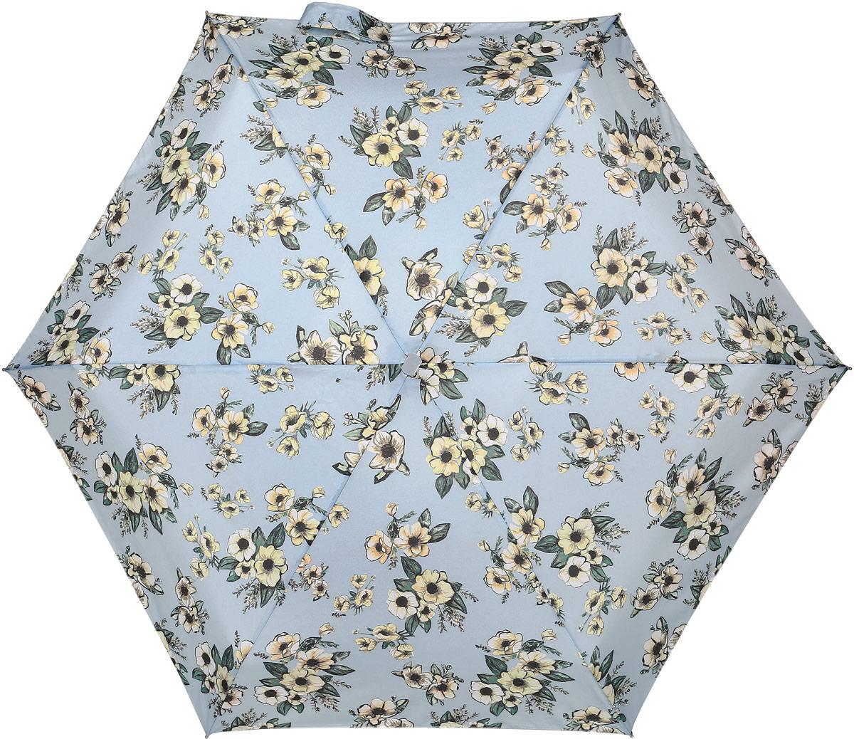 Зонт женский Fulton, механический, 5 сложений, цвет: голубой. L501-3368Колье (короткие одноярусные бусы)Стильный механический зонт Fulton имеет 5 сложений, даже в ненастную погоду позволит вам оставаться стильной. Легкий, но в тоже время прочный алюминиевый каркас состоит из шести спиц с элементами из фибергласса. Купол зонта выполнен из прочного полиэстера с водоотталкивающей пропиткой. Рукоятка закругленной формы, разработанная с учетом требований эргономики, выполнена из дерева. Зонт имеет механический способ сложения: и купол, и стержень открываются и закрываются вручную до характерного щелчка.