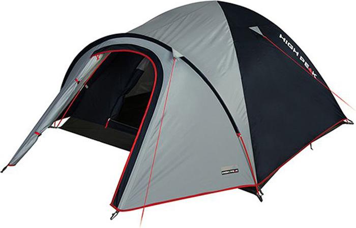Палатка High Peak Nevada 4, цвет: светло-серый, темно-серый, 290 х 240 х 130 см. 10206WS 7064High Peak Nevada 4 - это просторная палатка для семейных путешествий с обширным тамбуром для хранения снаряжения. Отлично подойдет для походов с апреля по сентябрь. Палатка легко устанавливается за 4-5 минут. Сначала устанавливается внутренняя палатка из паропроницаемого материала. Если погода жаркая, и дождя не предвидится, то можно спать без внешнего тента. Размер внутренней палатки по периметру составляет 5 м2 и позволяет с комфортом расположиться целой семье. Если надо защититься от ветра и дождя, накиньте внешний тент и проденьте третью дугу в рукав на тенте. Материал тента имеет полиуретановое покрытие и водонепроницаемость не менее 3000 мм водяного столба. Это позволяет защититься от сильного ветра и дождя. Все швы проклеены термоусадочной лентой, гарантировано не пропускающей влагу. При фиксации всех пяти оттяжек палатка имеет высокую ветроустойчивость. В комплекте идет пять сверхпрочных стальных 5мм колышка, которые не согнуться на твердой поверхности при установки палатки. Окно для лучшей вентиляции находится в верхней точке купола палатки. Во внутренней палатке имеются кармашки для разных мелочей. Внутренняя палатка с системой вентиляции Vario Vent Control System позволяет постоянно наполнять палатку воздухом и равномерно распределять его по палатке.Дуги: фибергласс 7,9 мм/тамбурная дуга 8,5 мм.Тент: полиэстер 3000 мм.Дно: армированный полиэтилен (3000 мм).