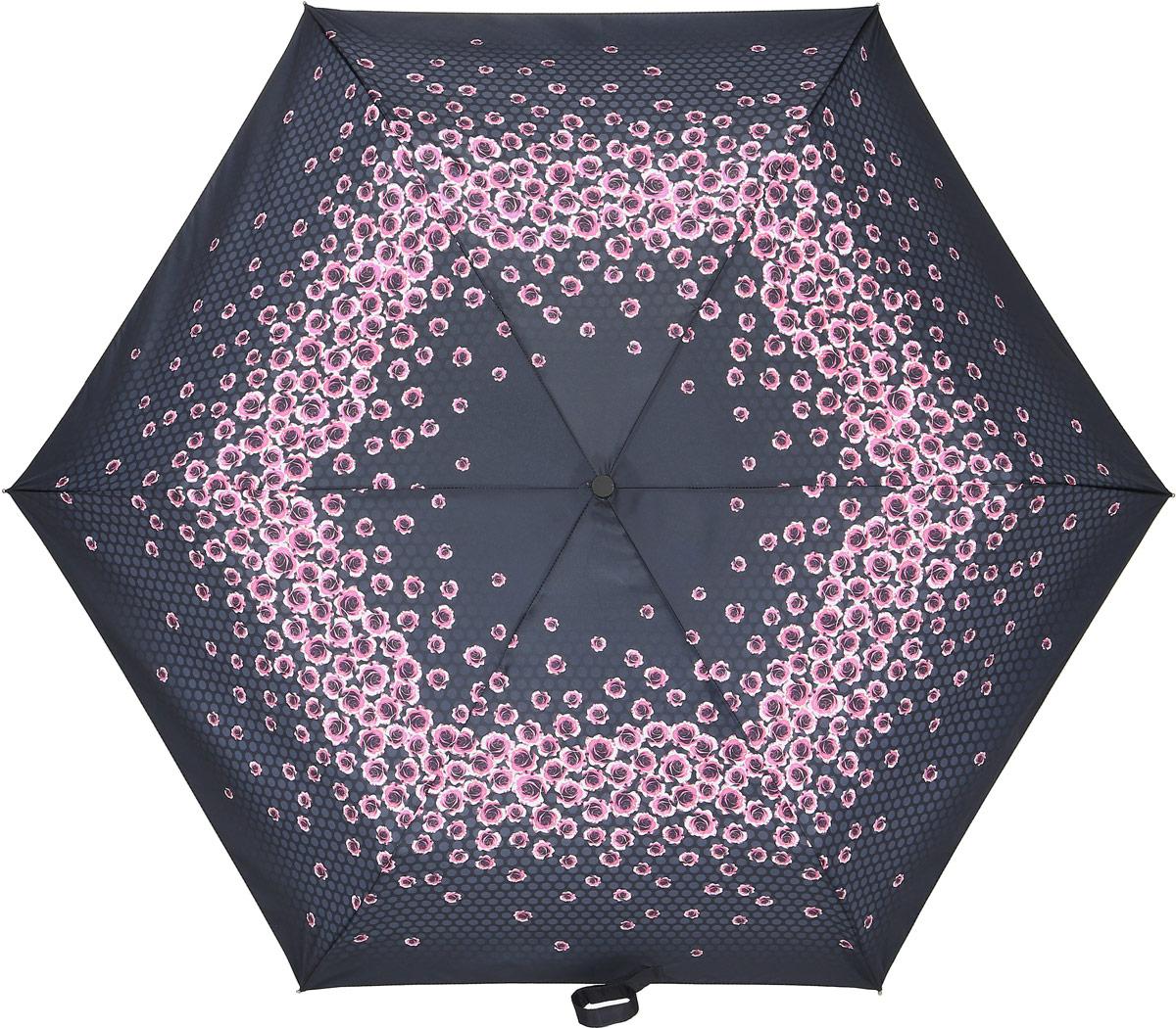 Зонт женский Fulton, механический, 3 сложения, цвет: черный, розовый. L553-328745102176/33205/7900XСтильный механический зонт Fulton имеет 3 сложения, даже в ненастную погоду позволит вам оставаться стильной. Легкий, но в тоже время прочный алюминиевый каркас состоит из шести спиц с элементами из фибергласса. Купол зонта выполнен из прочного полиэстера с водоотталкивающей пропиткой. Рукоятка закругленной формы, разработанная с учетом требований эргономики, выполнена из каучука. Зонт имеет механический способ сложения: и купол, и стержень открываются и закрываются вручную до характерного щелчка.