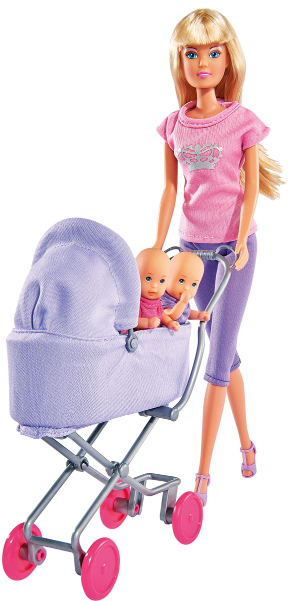 Simba Игровой набор с куклой Штеффи с коляской цвет сиреневый розовый simba игровой набор с куклой штеффи water styles fashion