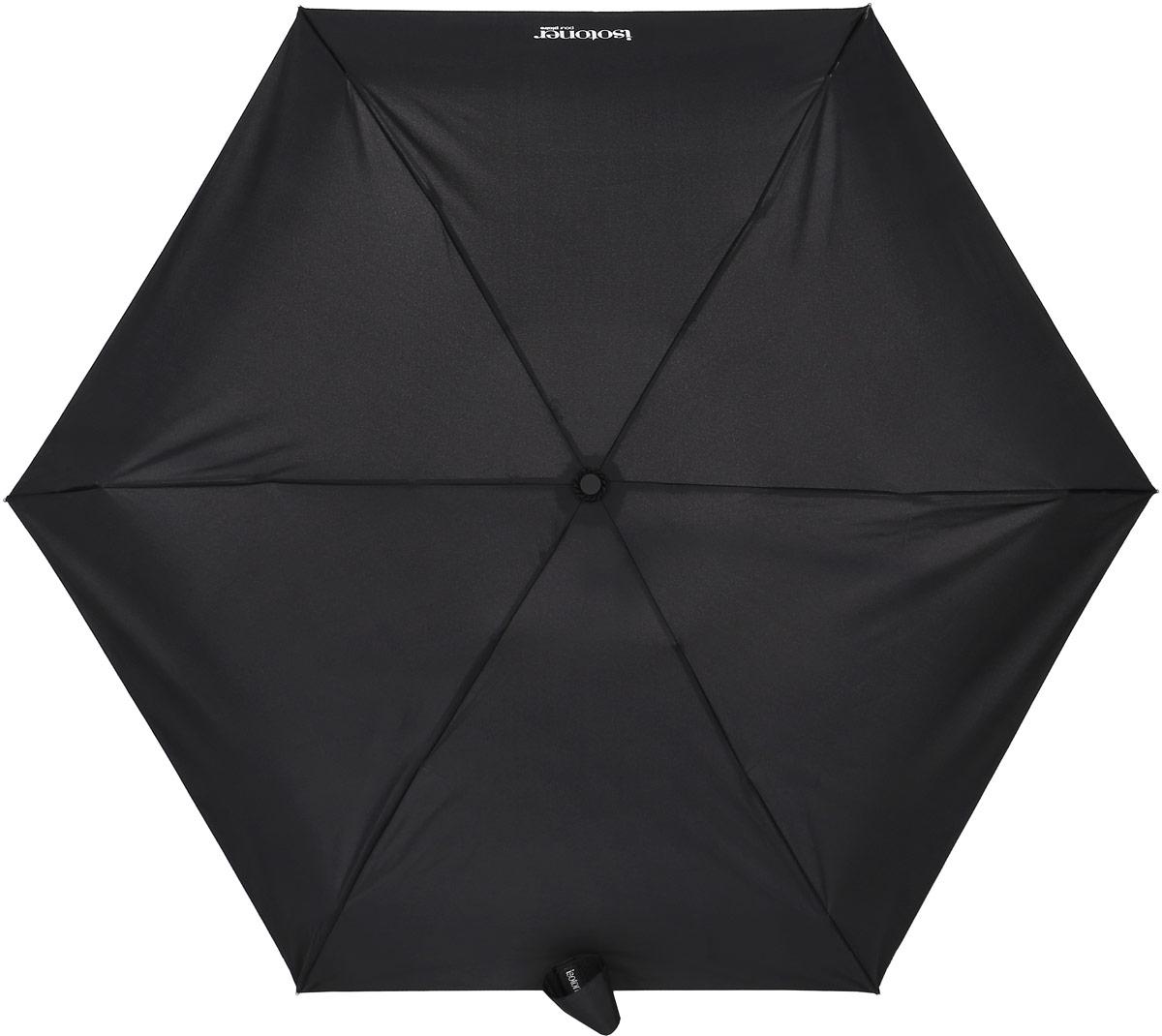 Зонт Isotoner, механический, 5 сложений, цвет: черный. 09137-1CX1516-50-10Компактный зонт Isotoner выполнен из металла, пластика.Каркас зонта выполнен из шести спиц на прочном стержне. Купол зонта изготовлен прочного полиэстера. Закрытый купол застегивается на липучку хлястиком. Практичная рукоятка закругленной формы разработана с учетом требований эргономики.Зонт складывается и раскладывается механическим способом.Такой зонт не только надежно защитит от дождя, но и станет стильным аксессуаром.