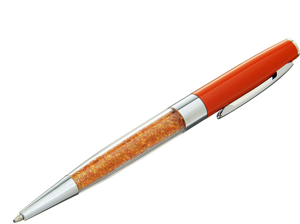 Ручка шариковая Стразы цвет корпуса оранжевый1509125Изделия данной категории необходимы любому человеку независимо от рода его деятельности.Ручка шариковая в пластиковом футляре с поворотным механизмом будет всегда под рукой в нужный момент.