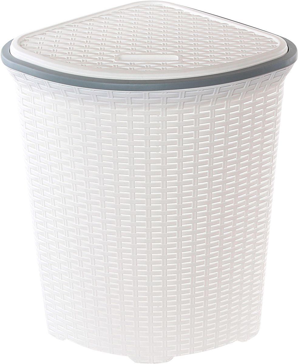 Корзина для белья Violet Ротанг, угловая, цвет: белый, 60 л98299571Угловая корзина Violet Ротанг с крышкой, изготовленная из полипропилена, имитирующая плетение ротанг, предназначена для хранения белья. . Организует пространство и впишется в любой интерьер. Это легкая корзина со сплошным дном, жесткой кромкой, с небольшими отверстиями на стенках.