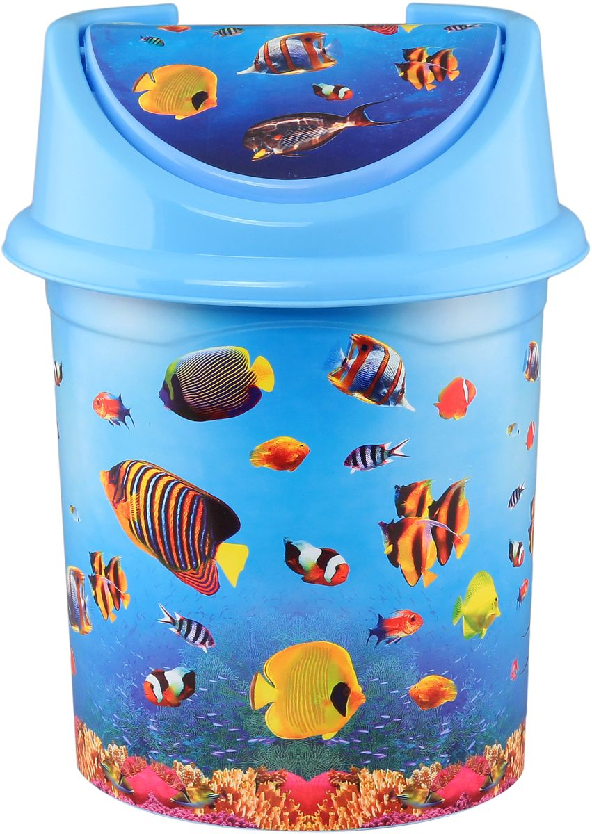 Ведро для мусора Violet Океан, с крышкой, 14 л810398Удобное ведро для мусора Violet, выполненное из высококачественного износостойкого пластика, оснащено крышкой. Ведро подходит для использования в ванной комнате или на кухне. Стильный дизайн и яркая расцветка прекрасно подойдет для любого интерьера ванной комнаты или кухни.