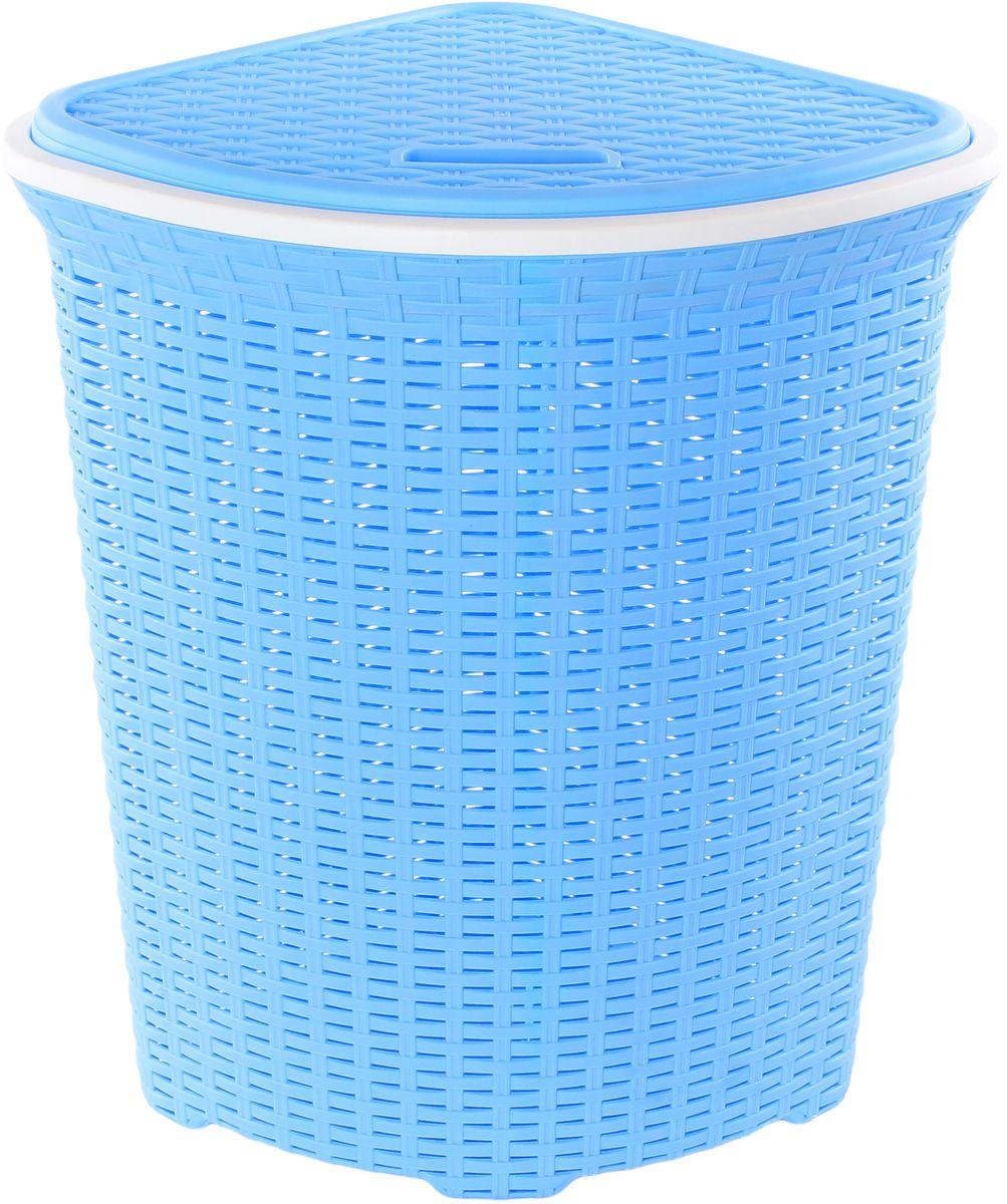 Корзина для белья Violet Ротанг, угловая, цвет: голубой, 60 лCLP446Угловая корзина Violet Ротанг с крышкой, изготовленная из полипропилена, имитирующая плетение ротанг, предназначена для хранения белья. . Организует пространство и впишется в любой интерьер. Это легкая корзина со сплошным дном, жесткой кромкой, с небольшими отверстиями на стенках.