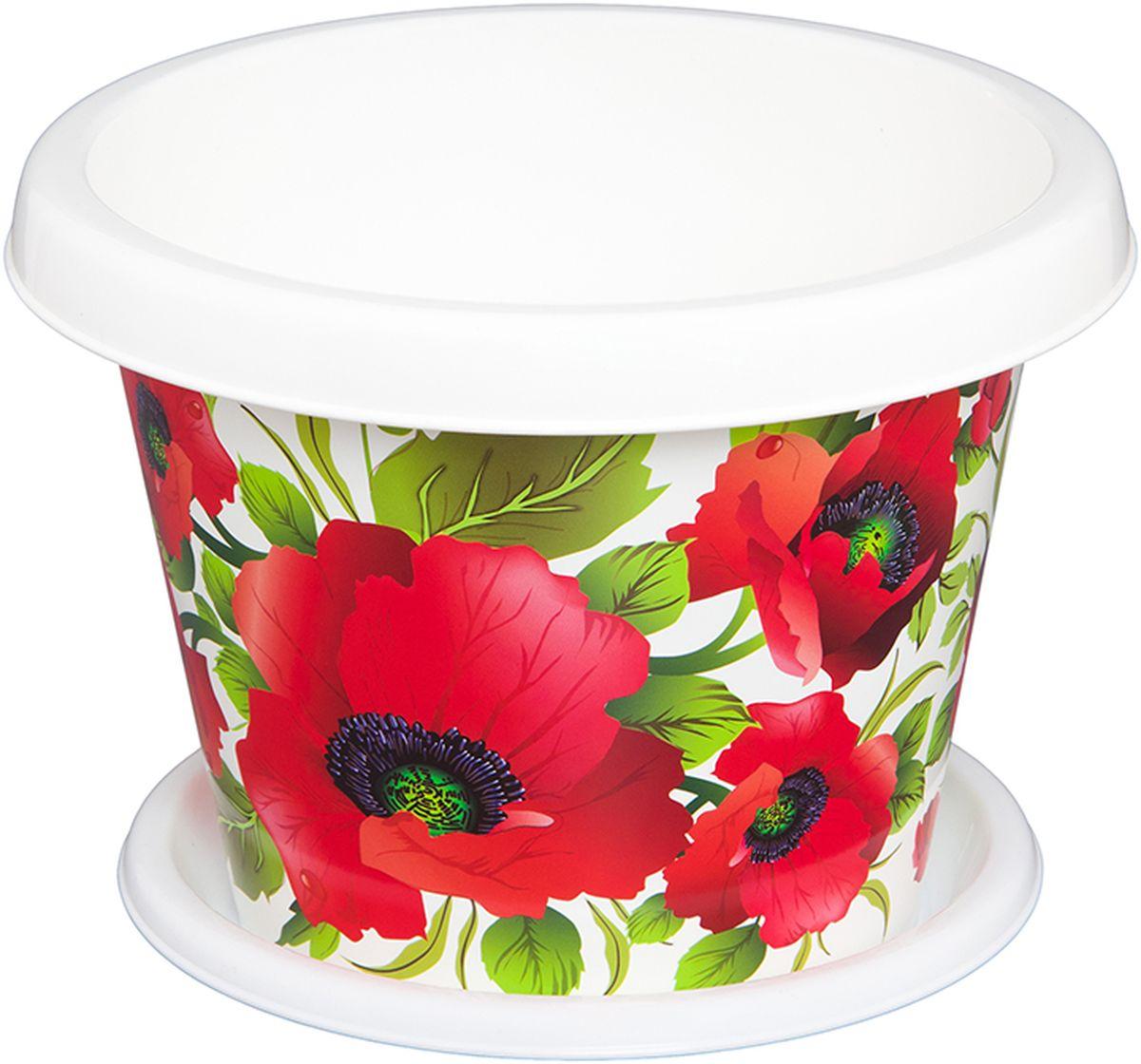 Кашпо Violet Маки, с поддоном, 8 л531-105Кашпо Violet изготовлено из высококачественного пластика. Специальный поддон предназначен для стока воды. Изделие прекрасно подходит для выращивания растений и цветов в домашних условиях. Лаконичный дизайн впишется в интерьер любого помещения.