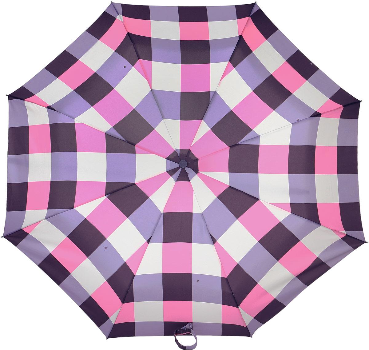 Зонт женский Fulton, механический, 3 сложения, цвет: розовый, бордовый. L354-3379Колье (короткие одноярусные бусы)Стильный механический зонт Fulton имеет 3 сложения, даже в ненастную погоду позволит вам оставаться стильной. Легкий, но в тоже время прочный алюминиевый каркас состоит из восьми спиц с элементами из фибергласса. Купол зонта выполнен из прочного полиэстера с водоотталкивающей пропиткой. Рукоятка закругленной формы, разработанная с учетом требований эргономики, выполнена из каучука. Зонт имеет механический способ сложения: и купол, и стержень открываются и закрываются вручную до характерного щелчка.