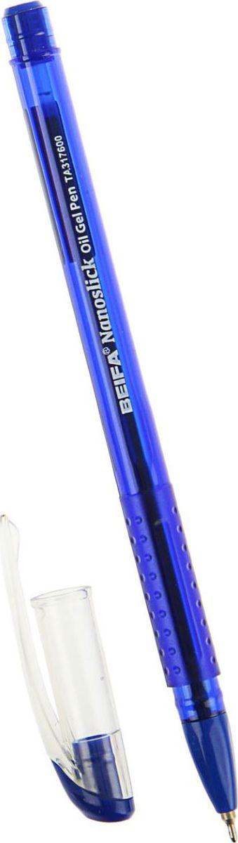 Ручка шариковая Beifa Nanoslick New ТА 3176-BL имеет прозрачный пластиковый корпус, сквозь который всегда виден запас чернил. Рифленая поверхность передней части корпуса предотвращает скольжение пальцев при письме. Цвет колпачка соответствует цвету чернил.