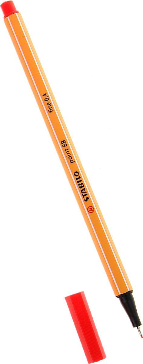 STABILO Ручка капиллярная Point 88 цвет чернил красный1060351Капиллярная ручка STABILO Point 88 идеально подходит для легкого и мягкого письма, черчения, рисования и раскрашивания.Металлический фиксатор наконечника дает возможность работать с линейками и трафаретами. Высокое качество и большой запас чернил существенно увеличивают срок службы ручки. Чернила на водной основе.Цвет колпачка соответствует цвету пасты. Толщина линии - 0,4 мм.