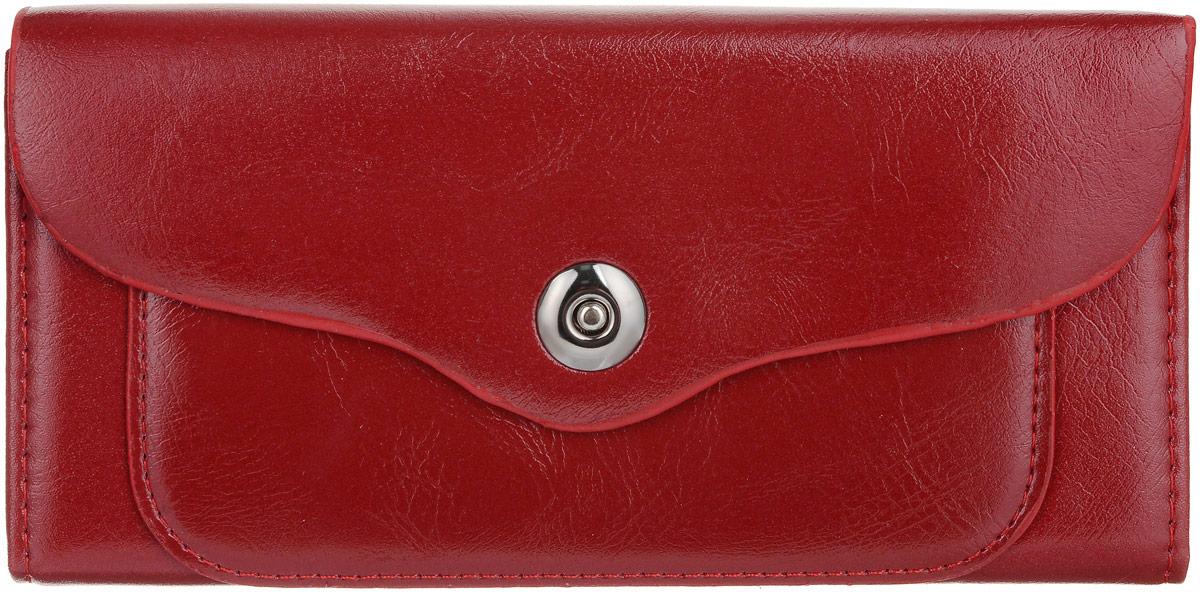 Кошелек женский Leighton, цвет: бордовый. 00053106INT-06501Кошелек женский Leighton выполнен из искусственной кожи. Модель закрывается на клапан и кнопку. Внутри два отделения для карточек и визиток, одно отделение на молнии, два для купюр и одно для монет.