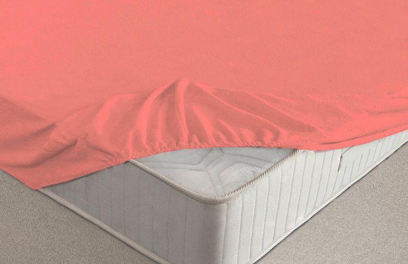 Простыня на резинке Ecotex, махровая, цвет: коралловый, 160 х 200 смES-412Махровые простыни на резинке сшиты из высококачественного махрового полотна, окрашены стойкими экологически безопасными красителями. Они уже успели завоевать признание потребителей благодаря своим практичным характеристикам. Имеют резинку по всему периметру, что даёт возможность надежно зафиксировать простыню на матрасе, тем самым создавая здоровый и комфортный сон. Натяжные махровые простыни довольно практичны, т.к. махровое полотно долговечно. Выолнены из 100% хлопка и не содержат синтетических добавок.